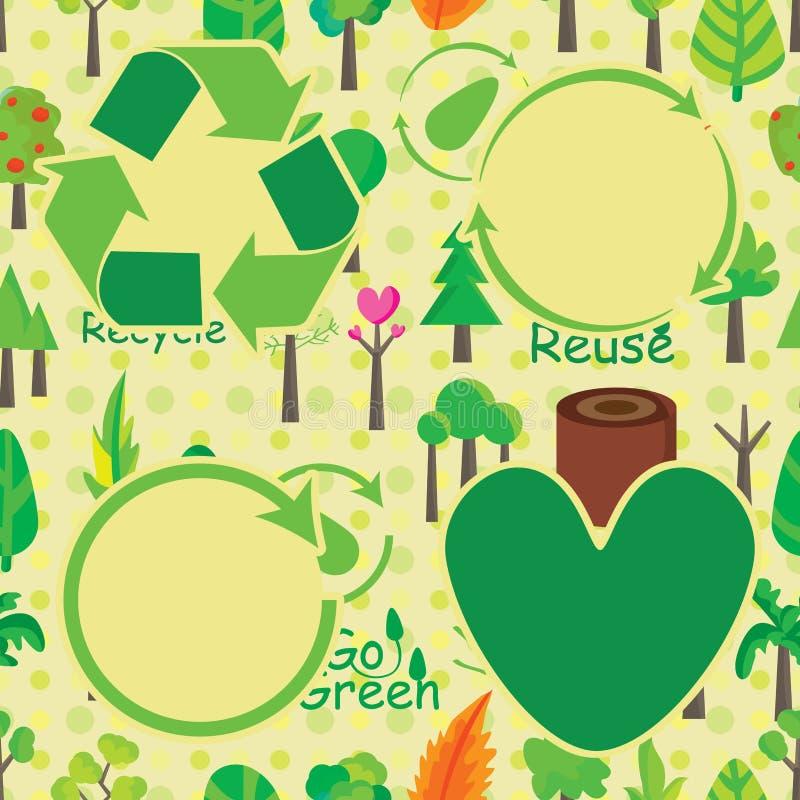 Rośliny Ikony Bezszwowy Deseniujący Firma projekt ilustracja wektor