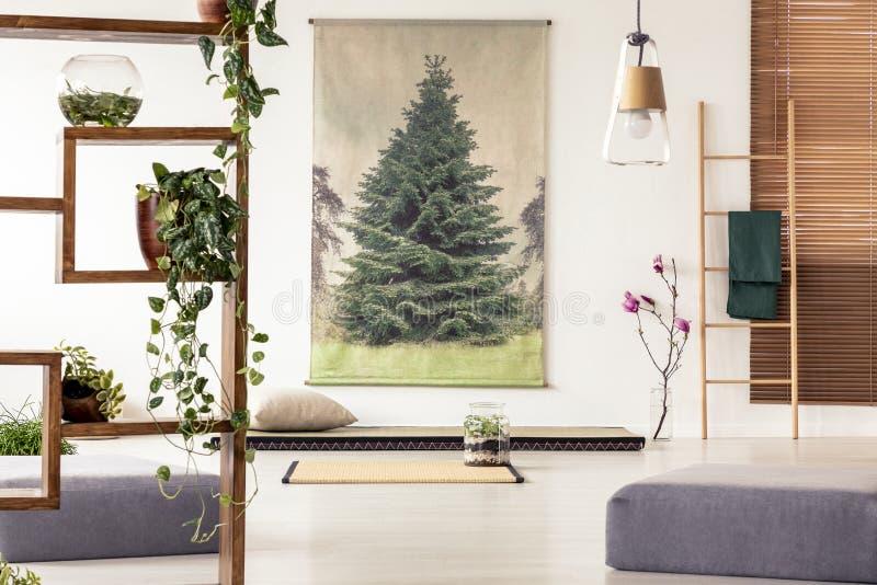 Rośliny na drewnianej półce w orientalnym żywym izbowym wewnętrznym dowcipie obrazy royalty free