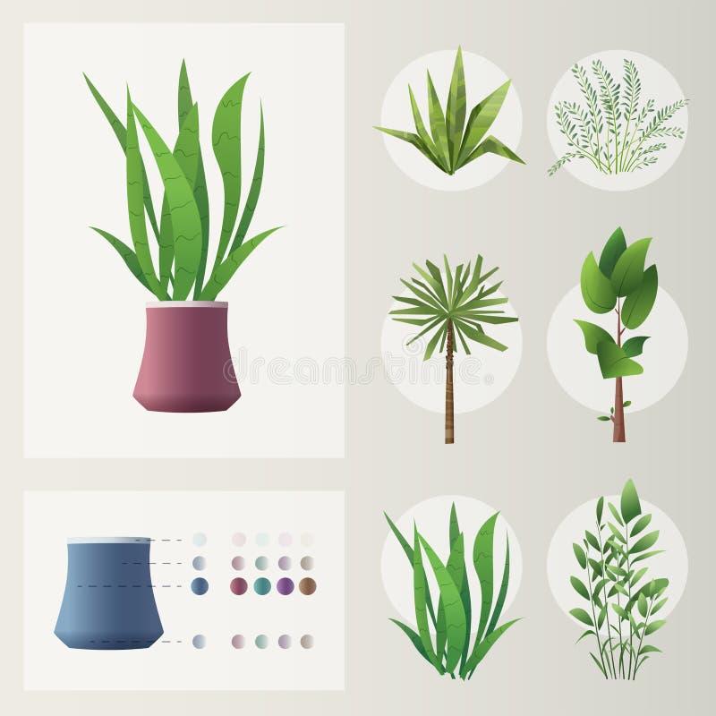 rośliny ustawiać obcy kreskówki kota ucieczek ilustraci dachu wektor zielony dom ilustracji