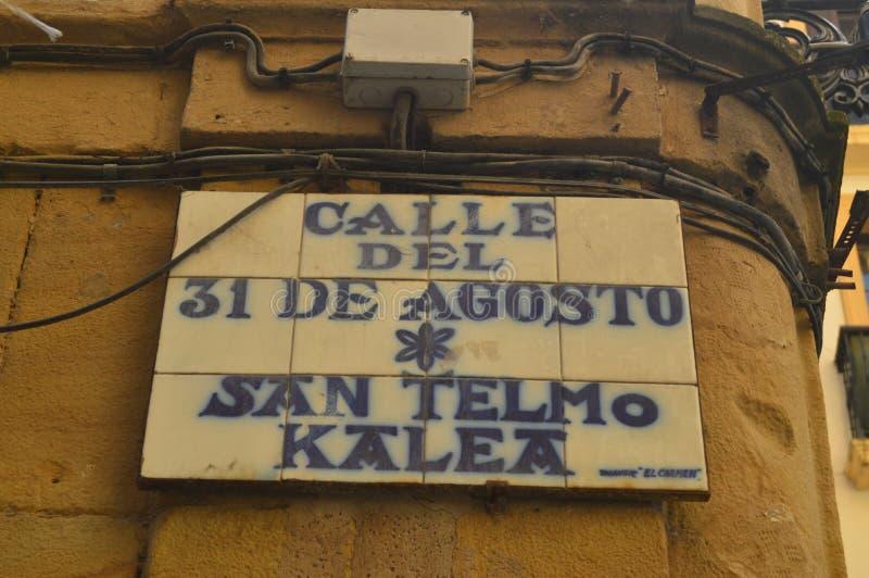 31ro August Street Plaque San Telmo Kalea In San Sebastian Naturaleza del viaje de la arquitectura foto de archivo