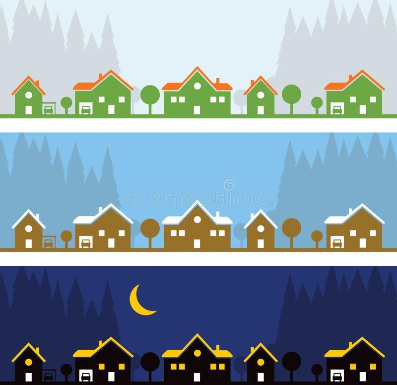Ro av hus vektor illustrationer