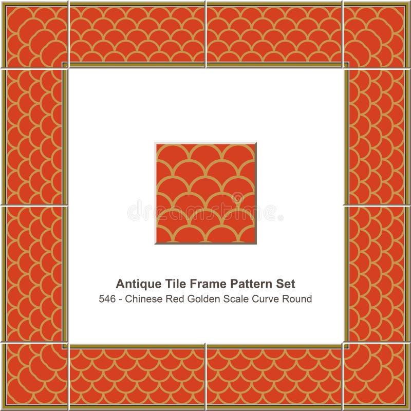 Ro de oro rojo chino determinado de la curva de la escala de la teja del modelo antiguo del marco stock de ilustración