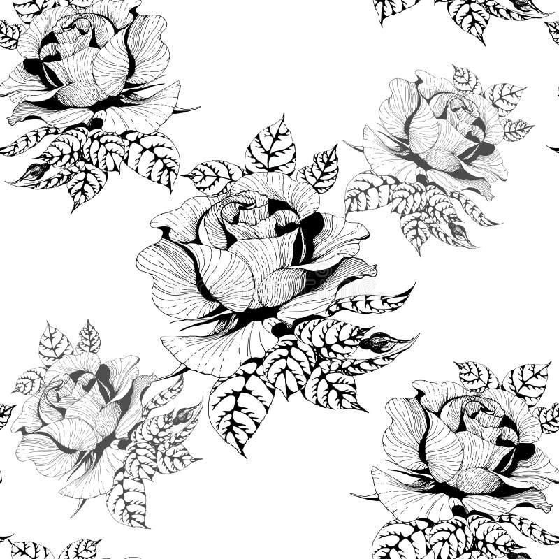 ro En filial av rosor med sidor, blommor och knoppar Seamless bakgrund Collage av blommor och sidor royaltyfri illustrationer
