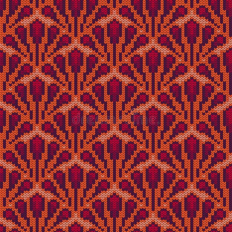 ro?lina, flora bezszwowy ?rodowisk dekoracyjny Trykotowy wzór dla puloweru, szalika lub skarpet, Jacquard wyplata wally royalty ilustracja