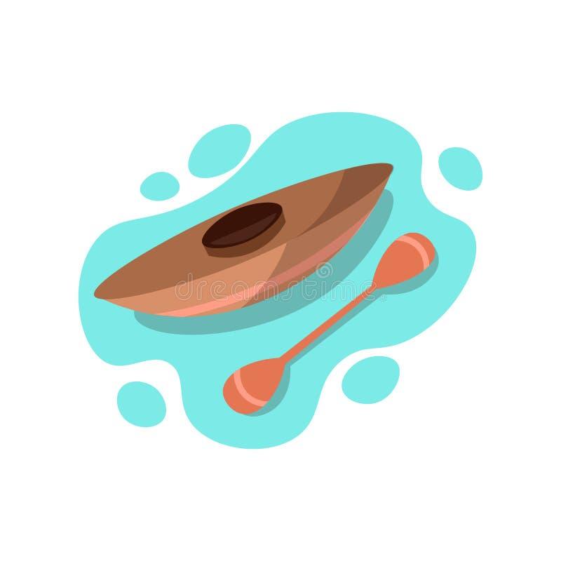 Ro loppfartyget för en person Kajakrittsymbol i blått vatten, vektorillustration Kanot med skoveln i vatten, vektor stock illustrationer