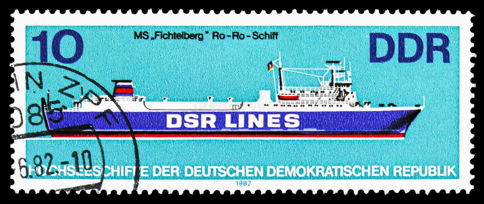 Ro-Ro ship Fichtelberg , Ocean-going Ships serie, circa 1982. MOSCOW, RUSSIA - OCTOBER 6, 2018: A stamp printed in Germany, Democratic Republic, shows Ro-Ro ship royalty free stock images