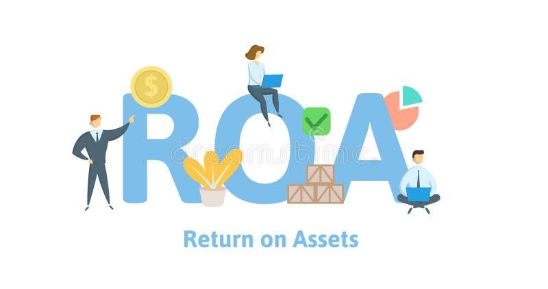 ROA, возвращение на имущества Концепция с ключевыми словами, письмами и значками Плоская иллюстрация вектора белизна изолированна бесплатная иллюстрация