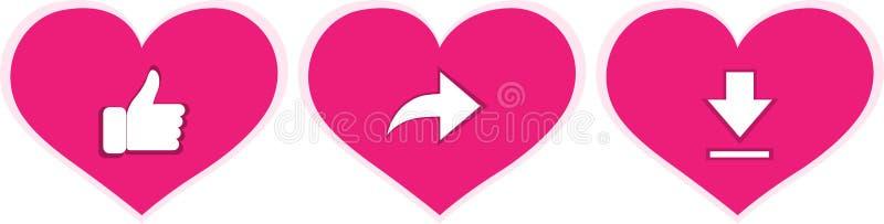 'Roa, dela din hjärta, symbol för nedladdningförälskelsevektor Tumme-uppsymboler som delar och nedladdar på symboler av förälskel stock illustrationer