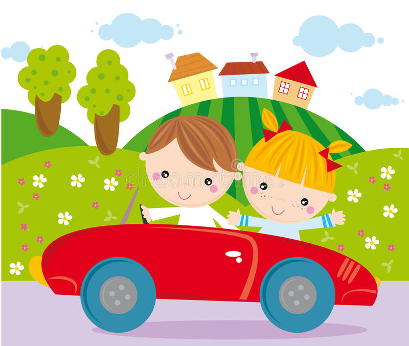 On the road. Illustration of two children driving a toy car