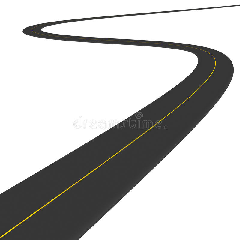 Road. Going over white clean space travel and driving destinations to far off places vector illustration
