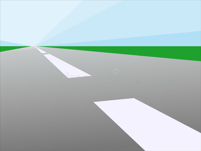 Road. Vector illustration of road to the bright sunrise vector illustration