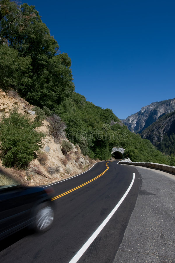 Road. Scenic road in California with car in motion royalty free stock photos