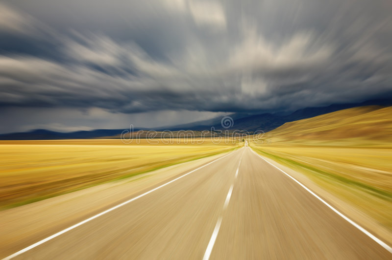 Road. Empty road with motion blur