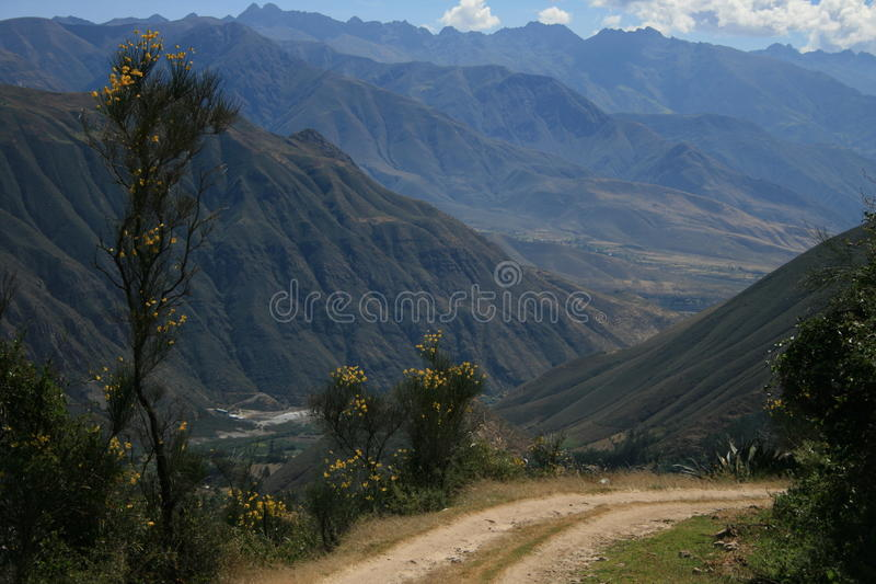 Road above the mountains stock photography