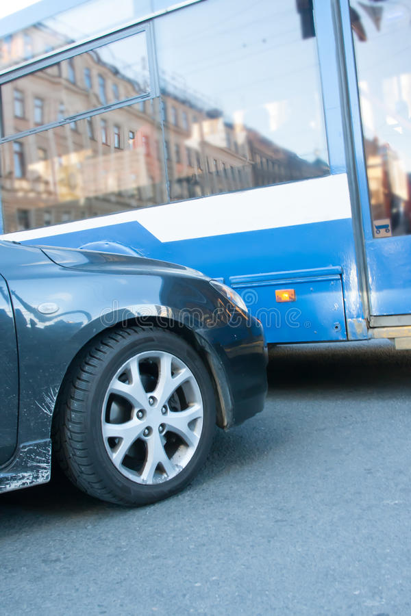 Road accident with bus stock photo