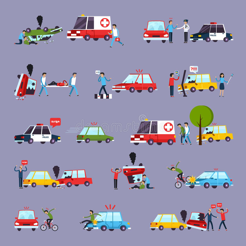 Road Accident Icons Set royalty free illustration