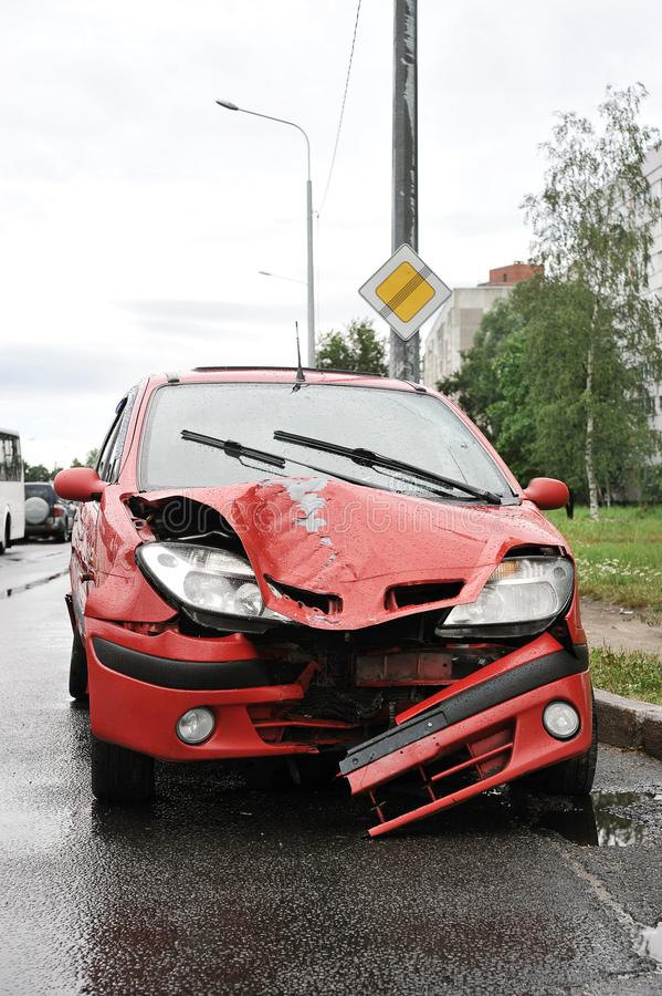 Road accident with red car crash stock photos