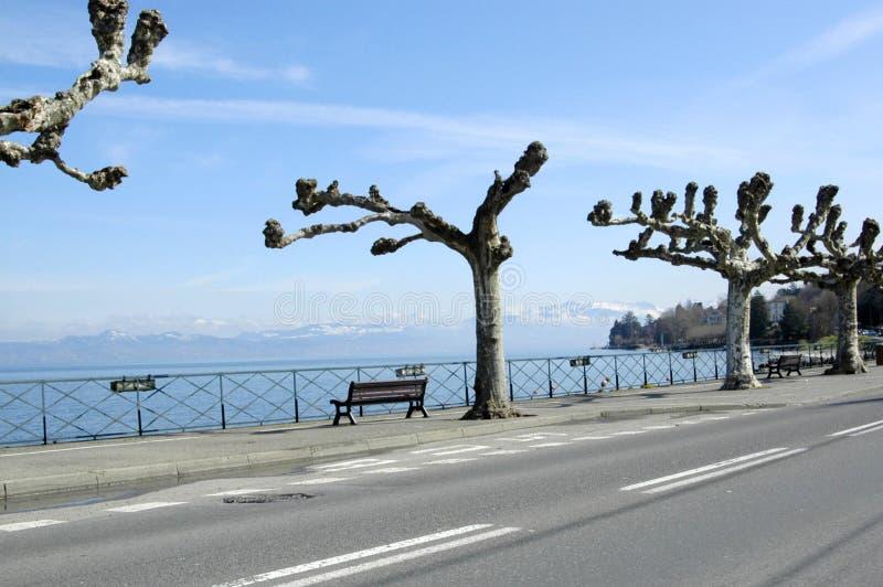 Road across the lake. Road - Leman Geneva Lake - Alps - Snow royalty free stock photography