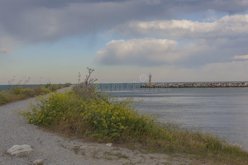 The road along the Bay at sea royalty free stock image