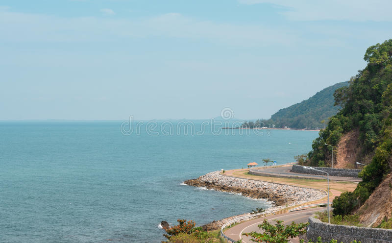 The road along beautiful beaches of the Gulf of Thailand stock images