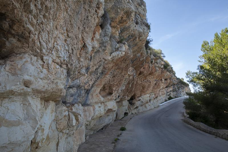 The road along the cliffs stock photography