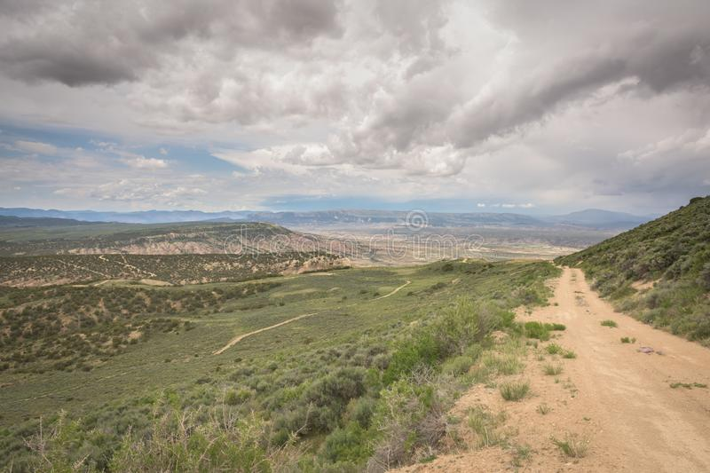 Road Along Side Of Lookout Mountain Looking Toward Vermillion Basin. In Colorado royalty free stock image
