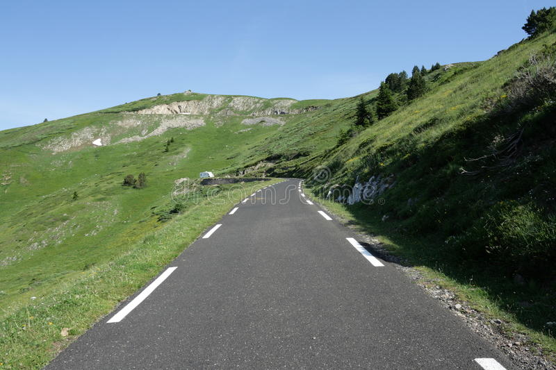 Road in Ariege, France. Road in Ariege, Donezan, Occitanie in south of France. Pailheres pass royalty free stock photo