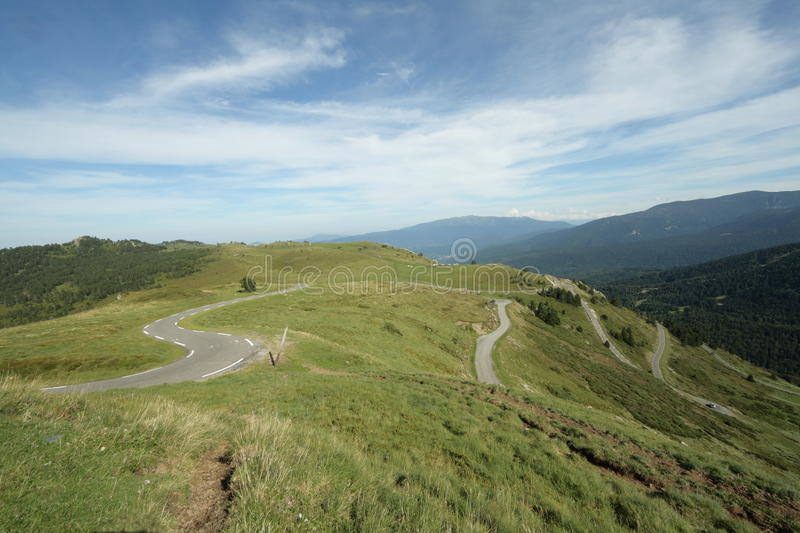 Road in Ariege, France. Road in Ariege, Donezan, Occitanie in south of France. Pailheres pass royalty free stock photos