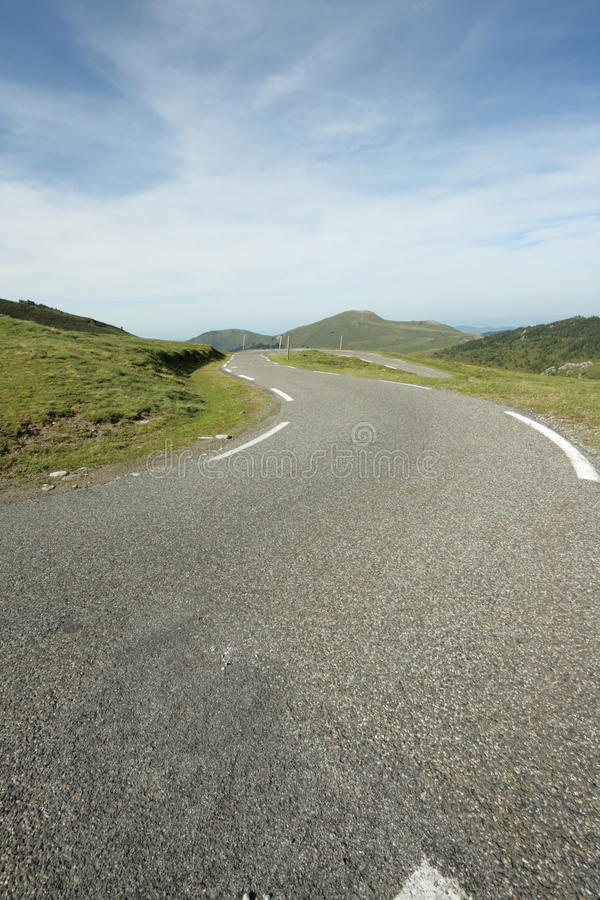 Road in Ariege, France. Road in Ariege, Donezan, Occitanie in south of France. Pailheres pass stock photo