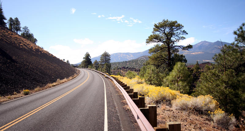 A Road Through Arizona's High Country. A Ribbon of Asphalt Beckons Travelers Through Arizona's Volcanic High Country stock image