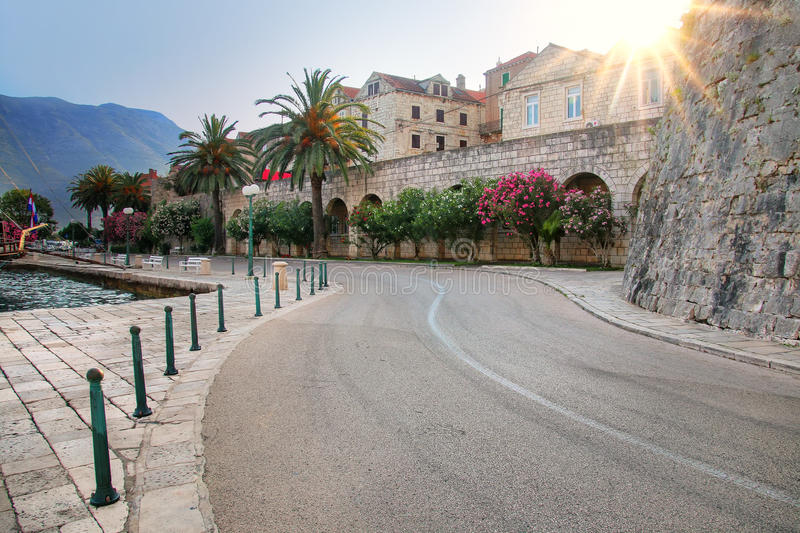 Road around Korcula old town walls, Croatia. Korcula is a historic fortified town on the protected east coast of the island of Korcula royalty free stock photos