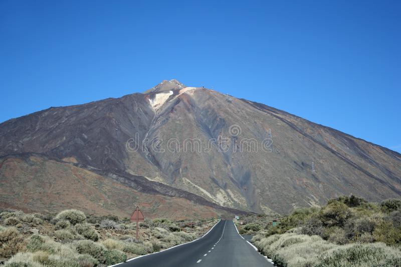 The road around Teide volcano stock images