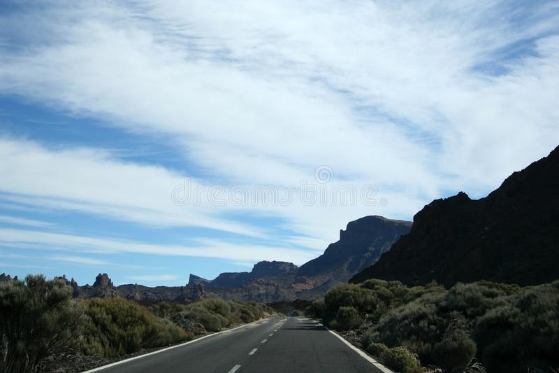 The road around Teide volcano royalty free stock photo