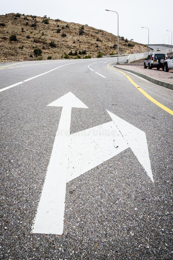 Road arrow Jebel Akhdar royalty free stock images
