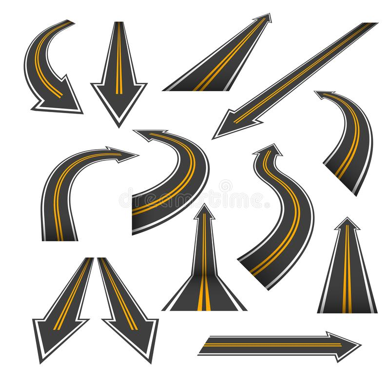 Free Road Arrow Set. Arrow Roads With Yellow Markings. Stock Photo - 110776190