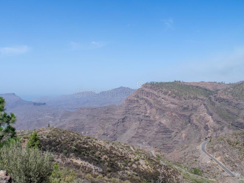 The road between Arteara and Roque Nublo, Gran Canaria. Island, Spain. Gran Canaria is the second most populous of the Canary Islands royalty free stock photo
