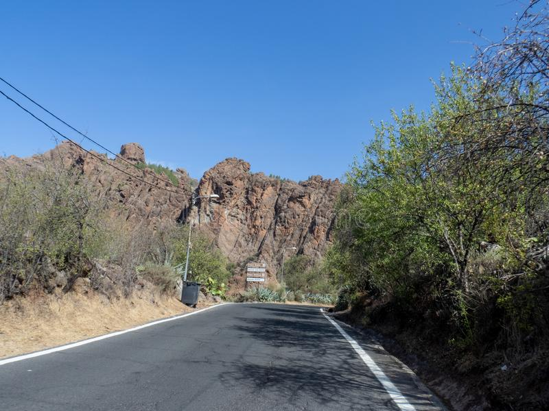 The road between Arteara and Roque Nublo, Gran Canaria. Island, Spain. Gran Canaria is the second most populous of the Canary Islands royalty free stock images
