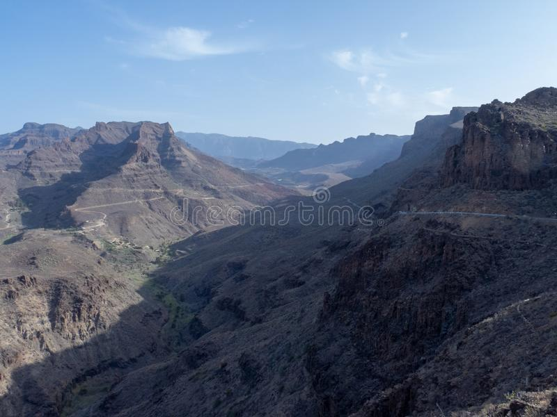 The road between Arteara and Roque Nublo, Gran Canaria. Island, Spain. Gran Canaria is the second most populous of the Canary Islands stock images
