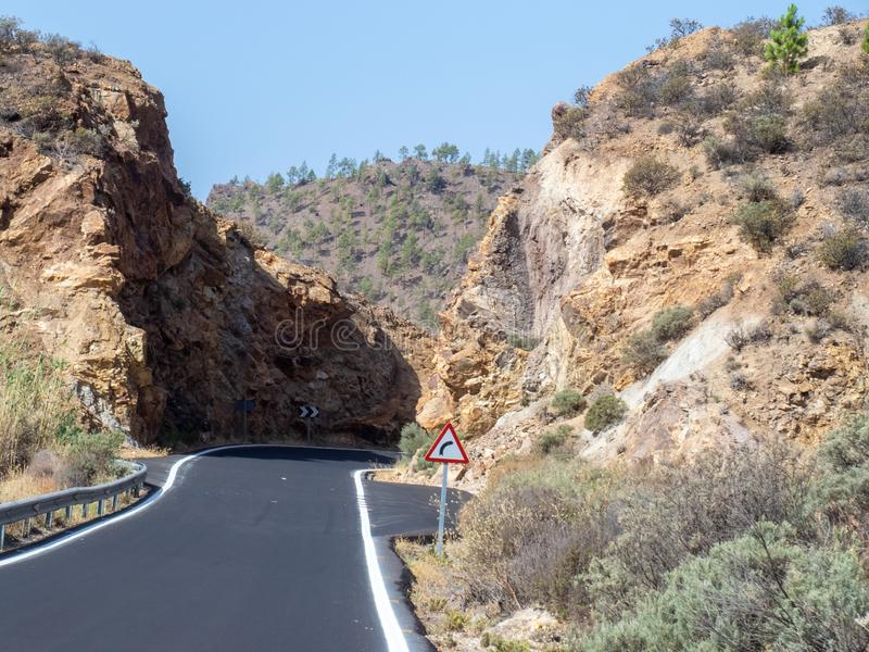 The road between Arteara and Roque Nublo, Gran Canaria. Island, Spain. Gran Canaria is the second most populous of the Canary Islands stock photos