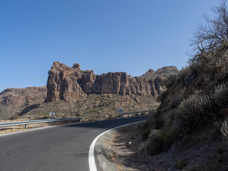 The road between Arteara and Roque Nublo, Gran Canaria. Island, Spain. Gran Canaria is the second most populous of the Canary Islands stock photography