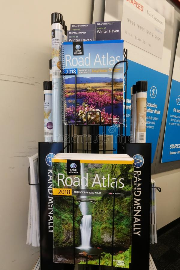 Road Atlas display at Staples royalty free stock images