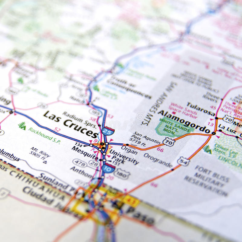 Road Atlas of Las Cruces New Mexico. Highway map of area around Las Cruces, New Mexico, near the border of Mexico stock photography