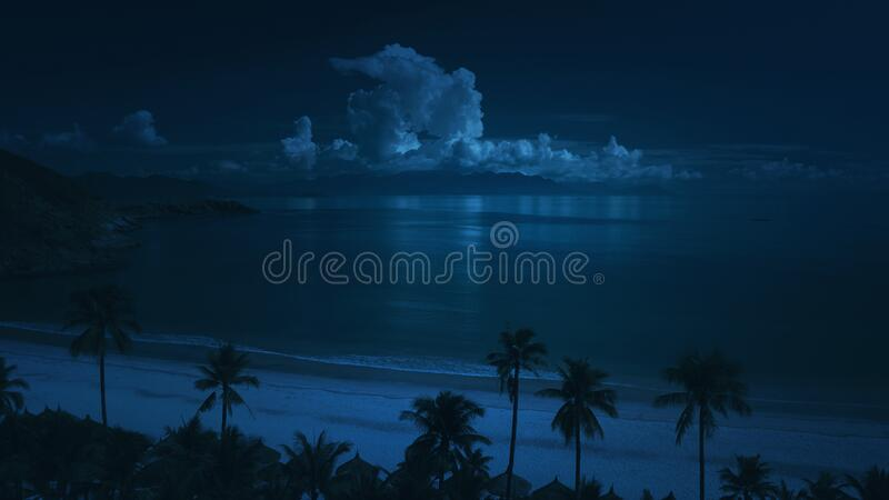 Road beside the beach at night royalty free stock photo