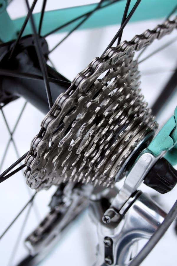 Road bike gears. Road bike rear derailleur, chain and gears stock images