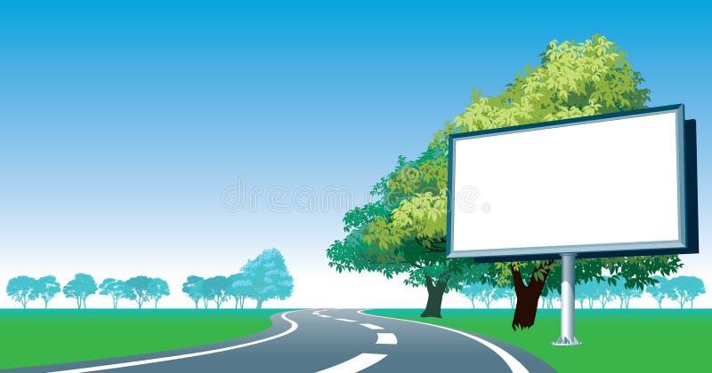 Road billboard and roadside trees. Blank billboard and roadside trees at the road stock illustration