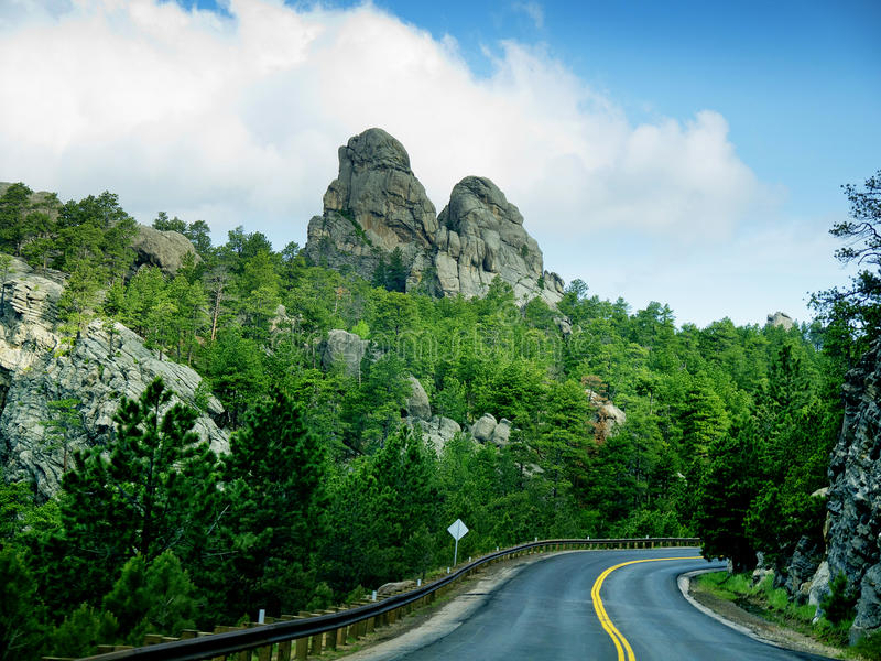 Road through the Black Hills. The Black Hills of Dakota in the United States of America near Mount Rushmore royalty free stock photo