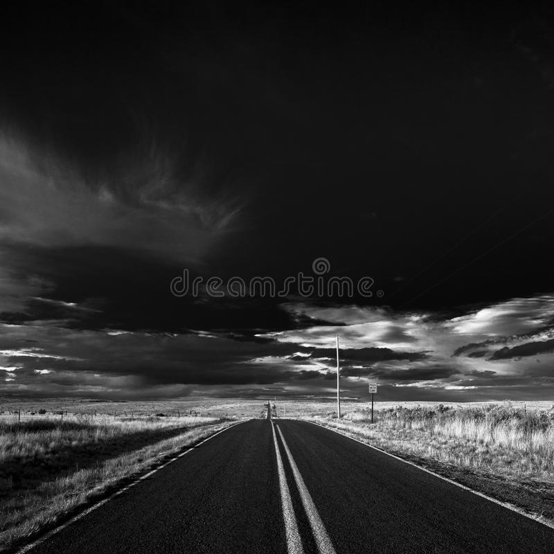 Road Black and White. Black and white picture of a road in the State of New Mexico royalty free stock photos