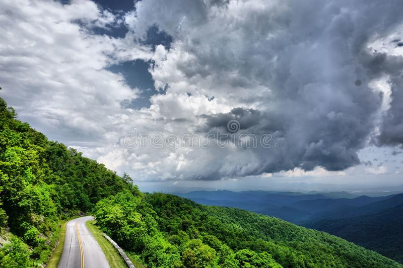Road in Blue Ridge Mountains. Road leading through the Blue Ridge Mountains in summer stock images