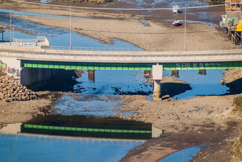 Road bridge in Castro, Chiloe island, Chi. Le royalty free stock photos