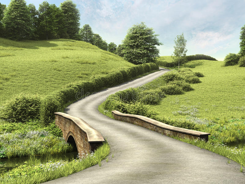 Road with a bridge royalty free illustration